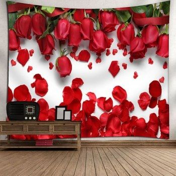 Wall Decor Valentine S Day Roses Pattern Tapestry Valentine Decorations Valentine Door Decorations Pinterest Christmas Decor