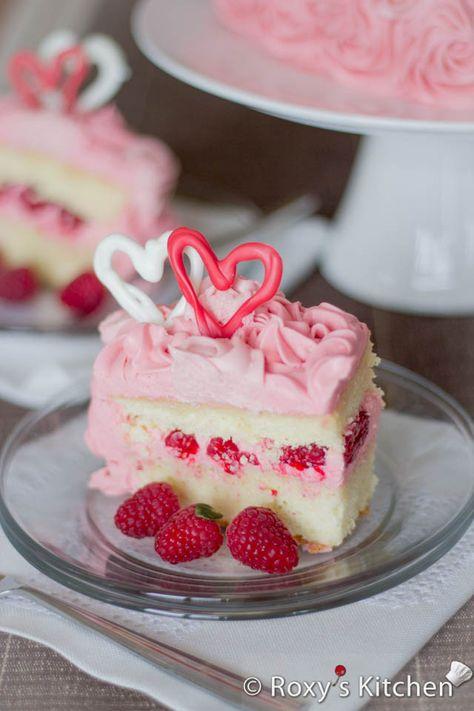 Raspberry Cream Cheese Buttercream Cake - Heart-Shaped Cake for Valentine's Day