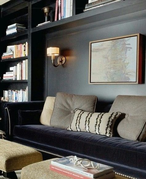 Dark walls, velvet sofa, built-ins