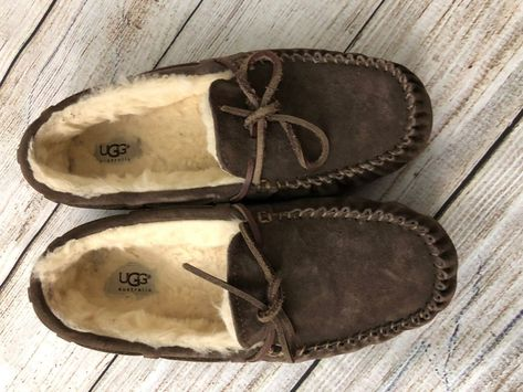7d1d9462ba ugg australia Women s Brown Leather Moccasins Slippers Fur Lined Size 9  Shoes  UGGAustralia  MoccasinSlippers