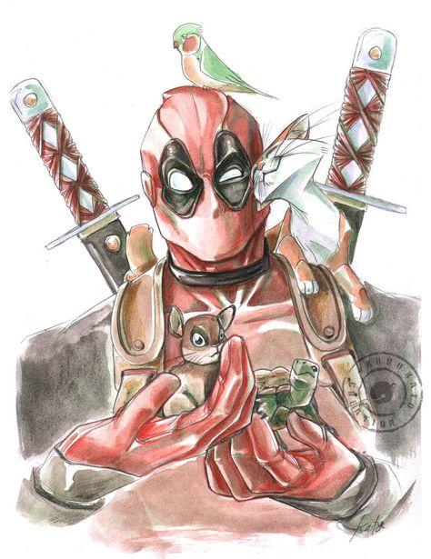 #Deadpool #Fan #Art. (Deadpool and Co) By: Kurokato. (THE * 5 * STÅR * ÅWARD * OF * MAJOR ÅWESOMENESS!!!™) [THANK U 4 PINNING!!!<·><]