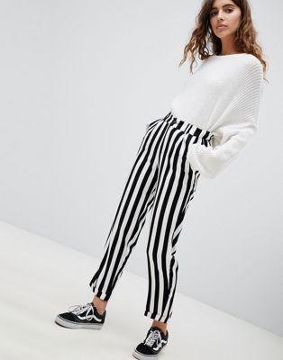 PULL & BEAR Black & White Striped Pants, Women's Fashion
