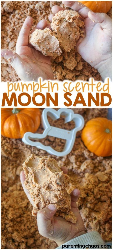 Scented Moon Sand Kids will LOVE this Taste Safe Pumpkin Scented Moon Sand!Kids will LOVE this Taste Safe Pumpkin Scented Moon Sand! Fall Preschool Activities, Toddler Activities, Toddler Snacks, October Preschool Crafts, Kids Crafts, Preschool Projects, Preschool Ideas, Pumpkin Preschool Crafts, Fall Toddler Crafts
