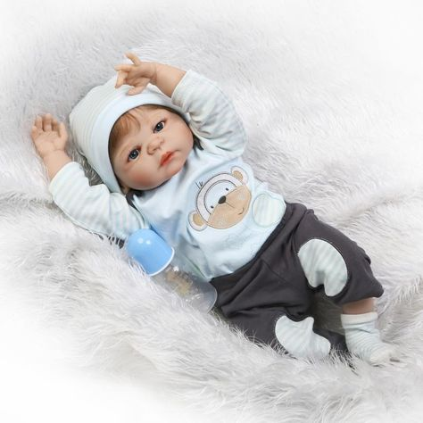 0565fcec8 55cm Full Silicone Body Reborn Baby Doll Toys Like Real 22inch Newborn Boy  Babies Toddler Dolls