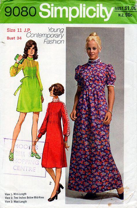 eba147478d5 Cute. Cute. More information. 1970s High Neck Babydoll Dress Pattern Boho  Gothic Lolita Simplicity ...