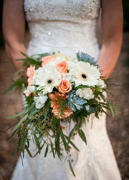Pretty Wedding Bouquet Arranged With Peach Roses Peach Gerbera Daisies White Gerbera Daisies Wh Daisy Bouquet Wedding Daisy Wedding Flowers Gerbera Wedding