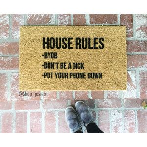 10 Quirky Statement Doormats Katrina Blair Interior Design Small Home Style Modern Livingkatrina Blair In 2020 Door Mat House Rules Funny Doormats
