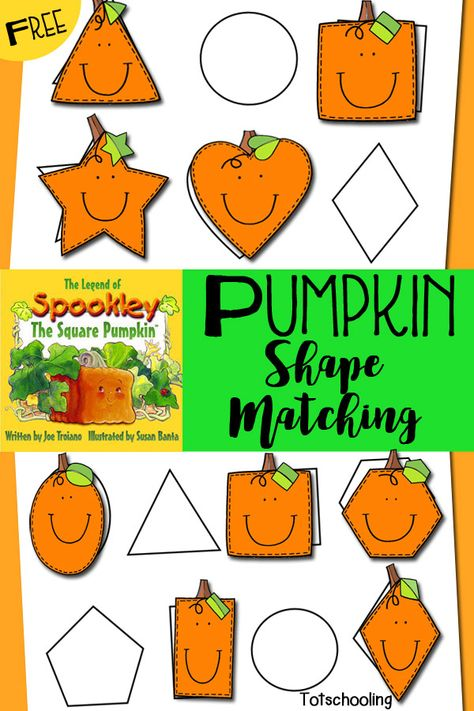 Pumpkin Shape Matching Activity to go with Book, Spookily the Square Pumpkin by Joe Troiano (free; from Tot Schooling)