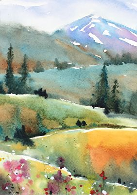 Colorado by Yvonne Joyner, Watercolor, 14in x 11in Watercolor Art, Art Painting, Landscape Paintings, Art Drawings, Watercolor Art Landscape, Watercolor Landscape Paintings, Art, Painting Art Projects, Watercolor Art Paintings