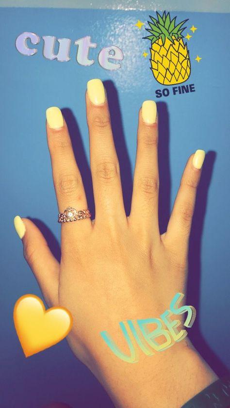 Pastel yellow acrylic nails #AcrylicNails