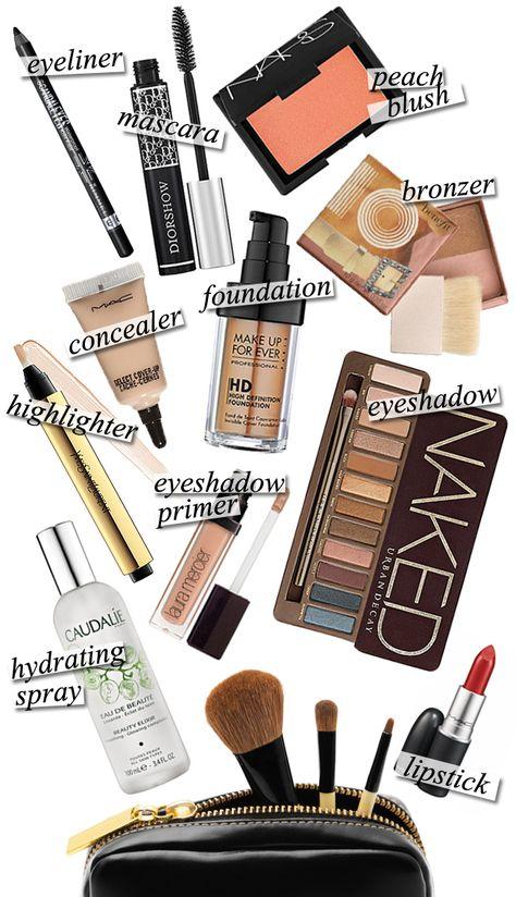 Makeup Bag Essentials.... Have to hide my face behind something ;) #TeenageSurvival