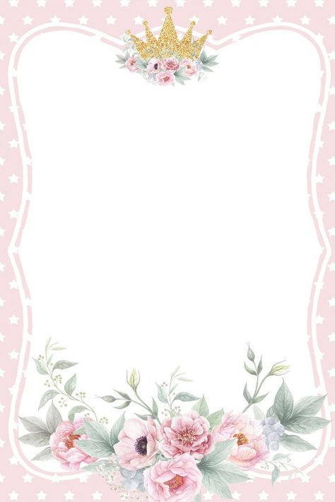 Princess letter paper / stationery paper for writing letters with a sparkly crown and flowers over pink background.