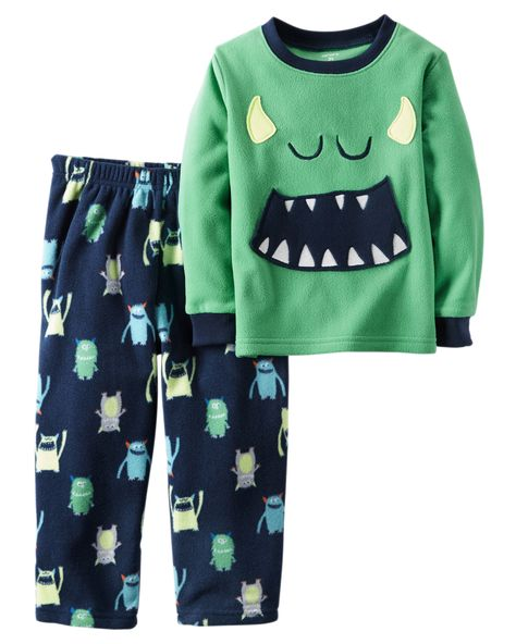 Crafted in plush fleece, this 2-piece PJ set is scary cozy! Matched set keeps bedtime dressing easy. Chemically treated? No way! Carter's polyester is safe and flame resistant... Phew!