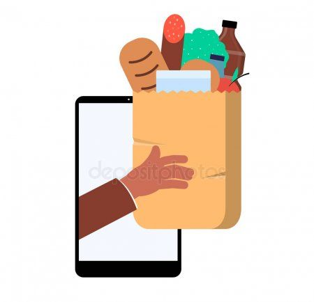 Online Grocery Shopping App Concept Store Purchase Home Delivery
