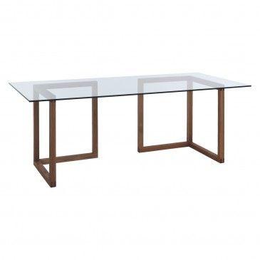 Kusa Large Glass And Walnut Trestle Desk Desk Glass