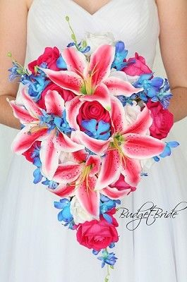 Cascading Stargazer Hot Pink Lily And Blue Orchid Wedding Flower