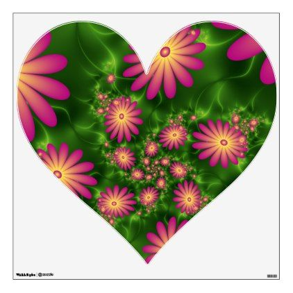 Pink Fantasy Flowers Modern Abstract Fractal Heart Wall Decal Zazzle Com In 2020 Heart Wall Decal Flower Wall Decals Wall Decals