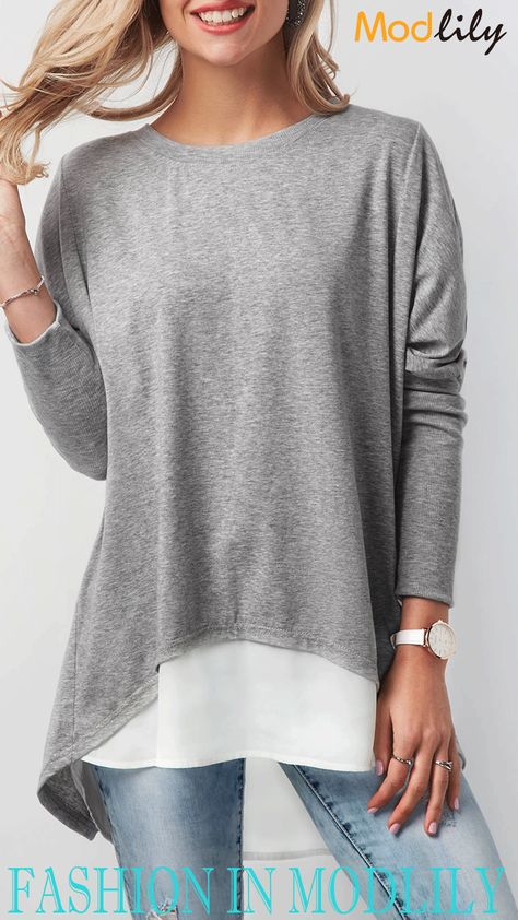Patchwork Long Sleeve Button Back T Shirt On Sale At Modlily! Simple and fashion T shirt at Modlily. And all of them are free shipping. Action now!