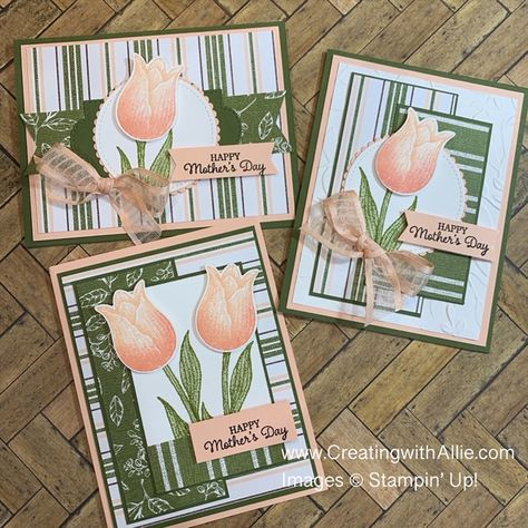 This post will help you get ideas for three easy Mother's Day handmade card ideas to make using the Timeless Tulips Bundle from Stampin' Up!.