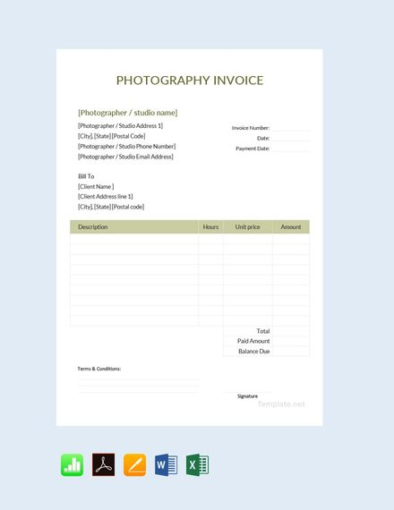 Free Sample Photography Invoice Invoice Template Photography