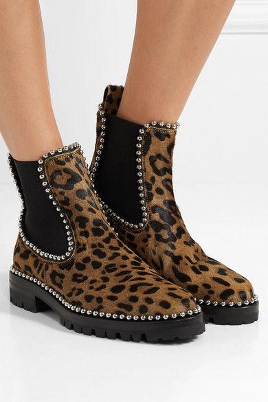 Spencer studded leopard-print calf hair