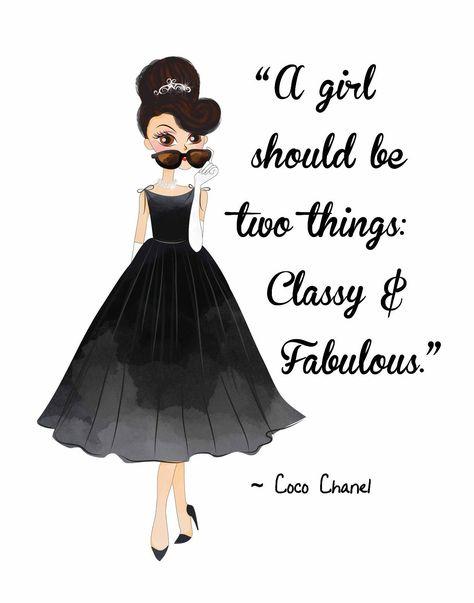 Fashion Pop Art. Woman's Beauty Audrey Hepburn W/ Coco Chanel Quote Classy & Fab