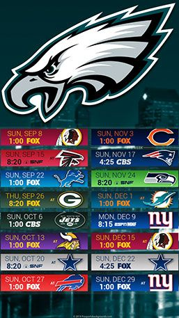 Eagles Schedule 2019 Philadelphia Eagles 2019 Mobile City NFL Schedule Wallpaper | 2019