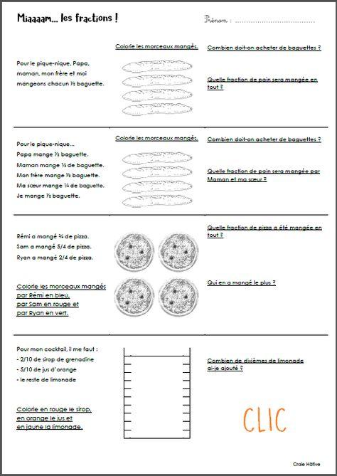 Petits problèmes faciles de fractions | Fraction cm1 ...