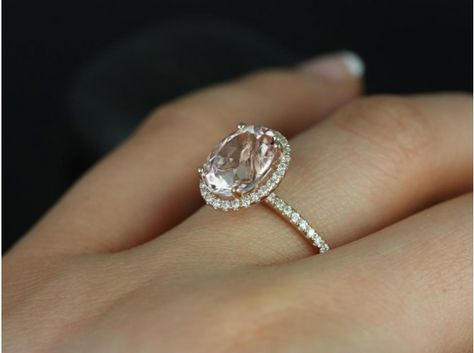 Rosados Box Jessica 10x8mm 14kt Rose Gold Oval Morganite Halo Engagement  Ring 0205f9569a47