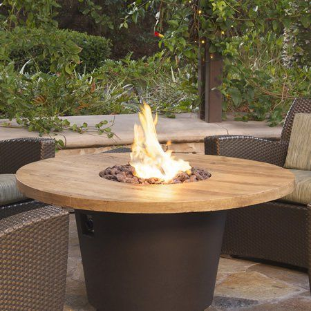 French Barrel Oak Cosmo Gas Fire Pit Table Round
