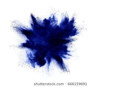 Explosion Of Blue Colored Powder Isolated On White Background Holi Festival Photo Editing Stock Photos Image