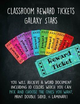 Classroom Reward Tickets Behavior Management Raffle Tickets - Galaxy Stars