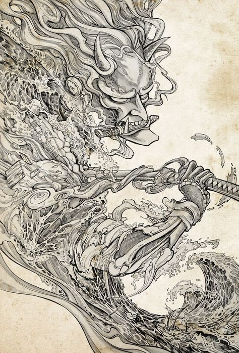 Resultado De Imagen Para Japanese Art Clouds Ide Tato Seni Jepang Seni Tengkorak