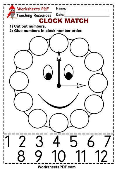 Clock Match Free Printables Kids Worksheets Preschool Math Activities Preschool Kids Math Worksheets Worksheet for kids pdf