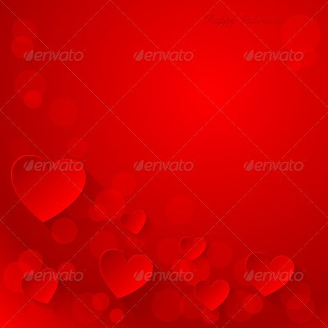 Valentines day red background with paper hearts.Vector. Fully editable, vector objects separated and grouped.