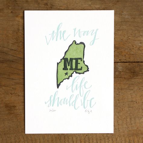 Maine Letterpress State Print by 1canoe2 on Etsy