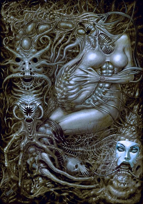 Xeeming is a digital artist from Ukraine. His incredibly detailed illustrations mix horror and surrealism in a brilliant way. Don't hesitate to check out Xeeming's portfolio to see much more. Hr Giger Art, Xenomorph, Arte Horror, Horror Art, Dark Fantasy Art, Dark Art, Art Alien, Giger Alien, Lovecraftian Horror