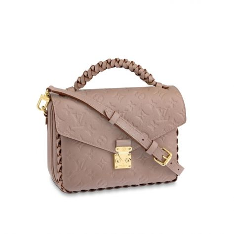 4edc8b7378a3 Louis Vuitton Monogram Empreinte leather Pochette Metis M43941 Vison Beige