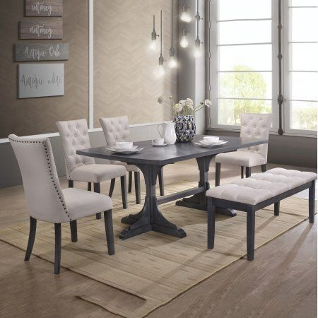 Best Quality Furniture Modern Design 6 Piece Dining Set With Bench D44 Walmart Com Grey Dining Tables Dining Set With Bench Pedestal Dining Table