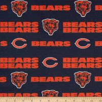 Nfl Cotton Broadcloth Chicago Bears Orange Navy Fabric Letters Fabric Discount Fabric