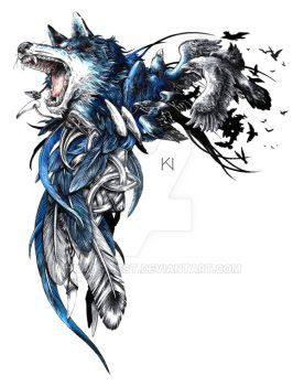 Wolf And Raven Tattoo Design By Kaos Nest Raven Tattoo Celtic Wolf Tattoo Celtic Raven Tattoo