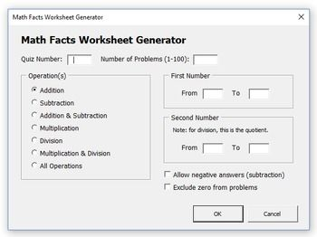 Math Facts Worksheet Generator Math Fact Worksheets Math Facts Worksheet Generator