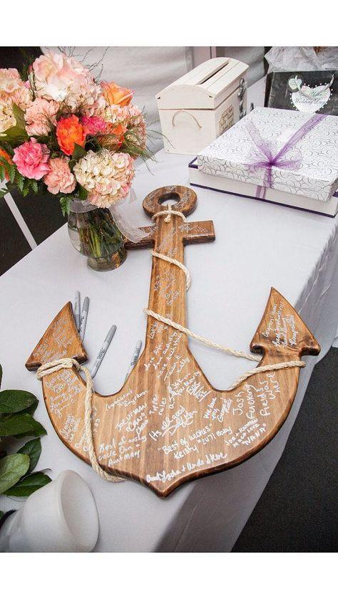 wood anchor guest book   via decorate for beach wedding ideas from emmalinebride.com