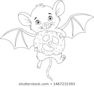 Cute Mouse Coloring Page Fall Outlined Stock Illustration