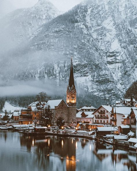 The cozy town of Hallstatt, Austria - - Austria Travel Destinations Family Kids Vacation Europe The Places Youll Go, Places To See, Austria Winter, Last Minute Travel, Austria Travel, Voyage Europe, Travel Images, Winter Scenes, Adventure Travel