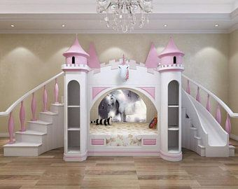 Made To Order Luxury Princess Palace Double Stairs Castle Bunk Etsy Bed With Slide Children Room Girl Princess Bed With Slide