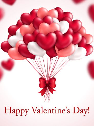 Heart Balloon Happy Valentine's Day Card: When one balloon isn't enough to show how much you love someone, what do you do? You get many more balloons to send instead! This Valentine's Day card features a bundle of red, white, and pink heart-shaped balloons, the perfect gift to send on this romantic holiday. Use this sweet Valentine's day card to send a high-flying gift to your loved one today!