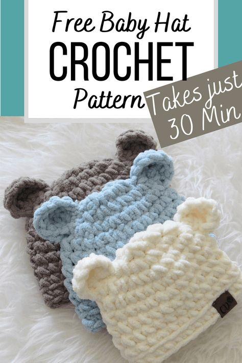 Crochet Baby Hat Patterns, Crochet Baby Hats, Crochet Beanie, Crochet Gifts, Cute Crochet, Crochet For Kids, Crochet Hooks, Baby Knitting, Knitting Patterns