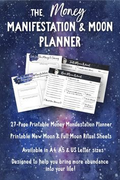Bring more financial abundance into your life with the printable Money Manifestation Planner and Moon Rituals. Align with your ultimate money mindset and boost your vibration with the New and Full Moon each month. #financialfreedom #abundance #lawofattraction #moneymindset #moneymagnet #financialabundance #money #printableplanner #manifestation #manifestationplanner #vibration #universe #alignment #moonmanifesting