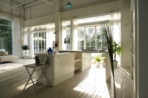 Ideas Farm Inspired Kitchen Design With Island Large Glass Window Indoor Plant Pendant Lamp Also Wood Flooring Modern Korean Interior Des